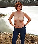 mom outdoor topless