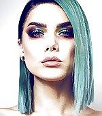 blue hair piercings