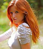 girl redhead door