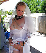 collared leashed bride