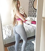 blonde pants yoga