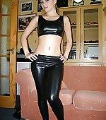 top shiny leggings