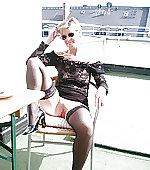 wife outdoor nylons