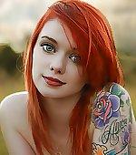 Redhead with tatoo