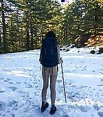 My wife hiking on