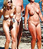Moms in front beach